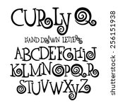 curly q hand drawn font... | Shutterstock .eps vector #256151938