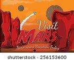 visit mars  a cartoon...   Shutterstock . vector #256153600