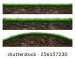 set of soil and green grass... | Shutterstock . vector #256157230