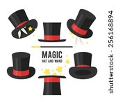 magic hat set. vector... | Shutterstock .eps vector #256168894