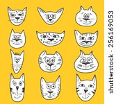cartoon cats set   vector... | Shutterstock .eps vector #256169053