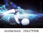 football player kicking ball... | Shutterstock . vector #256179508