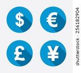 dollar  euro  pound and yen...   Shutterstock .eps vector #256182904