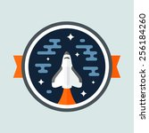 round space scene badge with... | Shutterstock .eps vector #256184260