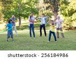 extended family playing with... | Shutterstock . vector #256184986