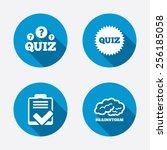 quiz icons. brainstorm or human ... | Shutterstock .eps vector #256185058