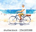 Man On Bike Summer Beach Scene...