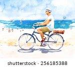 Man On Bike Summer Beach Scene...
