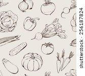 vegetables hand drawn pattern ... | Shutterstock .eps vector #256187824