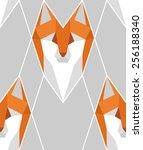 seamless low poly fox head... | Shutterstock .eps vector #256188340