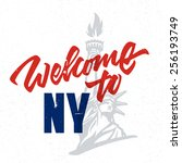 welcome to ny vintage hand...   Shutterstock .eps vector #256193749