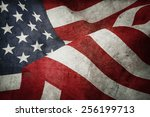 Closeup Of American Flag And...