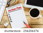 notebook with action plan.... | Shutterstock . vector #256206376