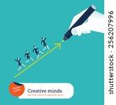 hand drawing an arrow... | Shutterstock .eps vector #256207996