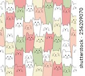 seamless doodle cat pattern... | Shutterstock .eps vector #256209070