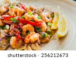 fried king prawns with brown...   Shutterstock . vector #256212673