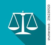 white justice scale icon on... | Shutterstock .eps vector #256230520