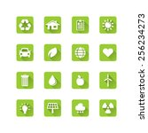 ecology icon set   long flat... | Shutterstock .eps vector #256234273