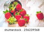 spring fruits  strawberries in... | Shutterstock . vector #256239568