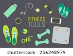 vector flat icons set of... | Shutterstock .eps vector #256248979