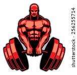 muscle man bodybuilder | Shutterstock .eps vector #256255714