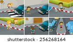 six scenes of do and don't on... | Shutterstock .eps vector #256268164