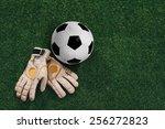 soccer ball and goalkeeper... | Shutterstock . vector #256272823
