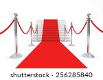red carpet and barrier rope on... | Shutterstock . vector #256285840