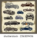 vintage style retro cars... | Shutterstock .eps vector #256309456