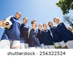 pretty football players smiling ... | Shutterstock . vector #256322524