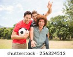 happy friends in the park with... | Shutterstock . vector #256324513
