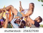 happy hipster woman crowd... | Shutterstock . vector #256327030