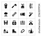 set icons of camping isolated...