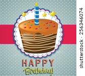 vector birthday cake... | Shutterstock .eps vector #256346074