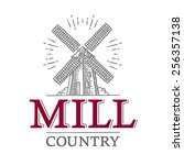 old windmill logo design... | Shutterstock .eps vector #256357138