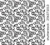 black seamless pattern daisy...   Shutterstock . vector #256371013