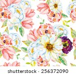 white and pink flowers with... | Shutterstock .eps vector #256372090