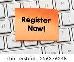 memo with register now. memo... | Shutterstock . vector #256376248