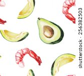 watercolor avocado and shrimp...   Shutterstock . vector #256382503