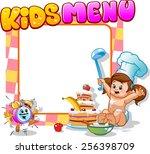 children's menu with alarm clock | Shutterstock .eps vector #256398709