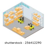 isometric warehouse interior... | Shutterstock .eps vector #256412290