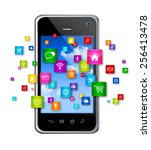 3d mobile phone with flying... | Shutterstock . vector #256413478