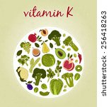 vitamin k   fruits and... | Shutterstock .eps vector #256418263