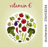 vitamin e   fruits and... | Shutterstock .eps vector #256418266