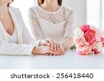 Stock photo people homosexuality same sex marriage and love concept close up of happy married lesbian 256418440
