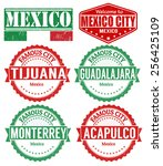Set Of Mexico Cities Stamps On...