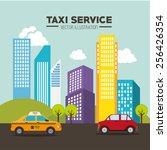 taxi design over cityscape... | Shutterstock .eps vector #256426354