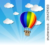 vector rainbow air balloon on... | Shutterstock .eps vector #256429303