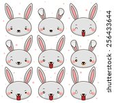 set of emoticons  cute bunny ... | Shutterstock .eps vector #256433644