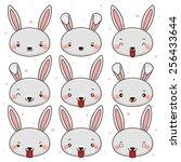 set of emoticons  cute bunny ... | Shutterstock .eps vector #256433644